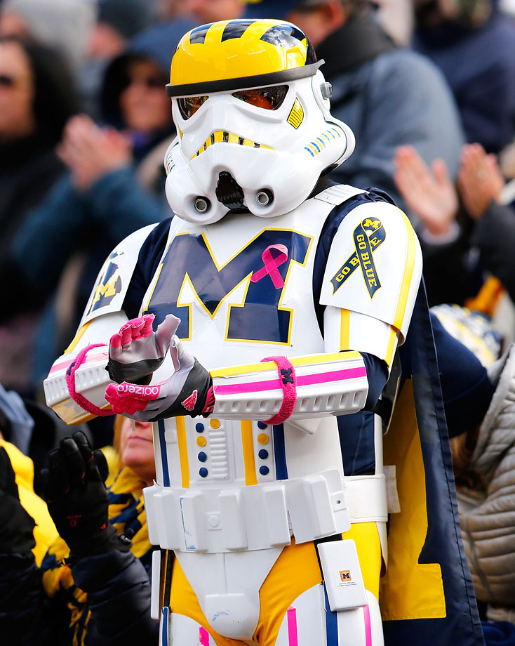 A Michigan Wolverines fan dressed as a stormtrooper attends the team's football game against the Indiana Hoosiers on Nov. 1, 2014 at Michigan Stadium in Ann Arbor, Mich.