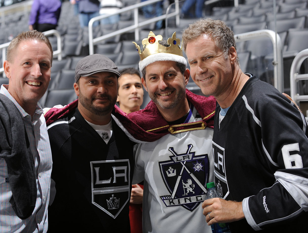 Will Ferrell poses for a photo with fans after the Los Angeles Kings loss to the New York Islanders on Nov. 6, 2014 at Staples Center in Los Angeles.