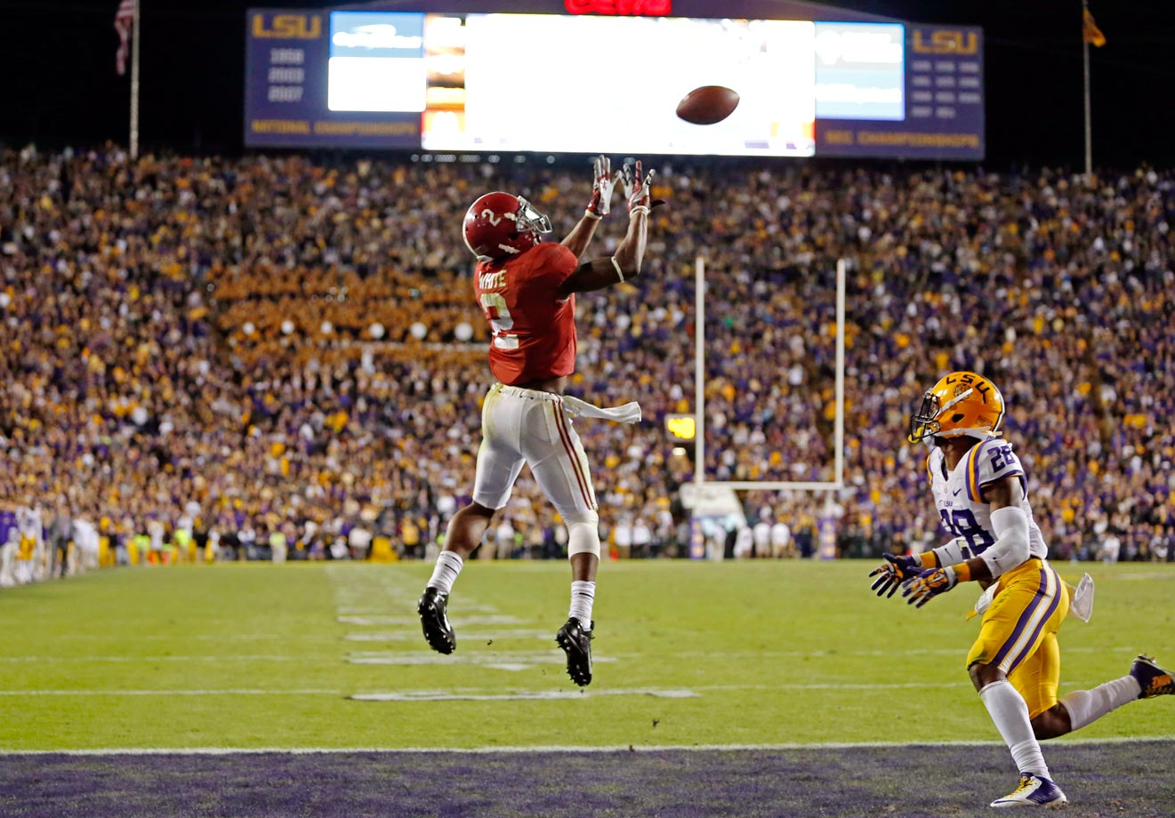 The Tide seemed dead when LSU had the ball at the six-yard line and 1:13 to go in a 10-10 game. But the Tigers settled for a field goal, and Bama evened it up with three seconds left. Sims hit DeAndrew White for the game-winning score in overtime.