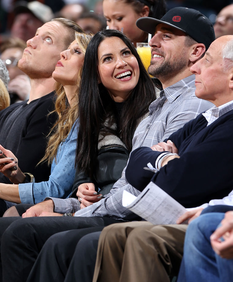 Olivia Munn and Aaron Rodgers attend the Milwaukee Bucks game against the Oklahoma City Thunder at the BMO Harris Bradley Center on Nov. 11, 2014 in Milwaukee, Wis.