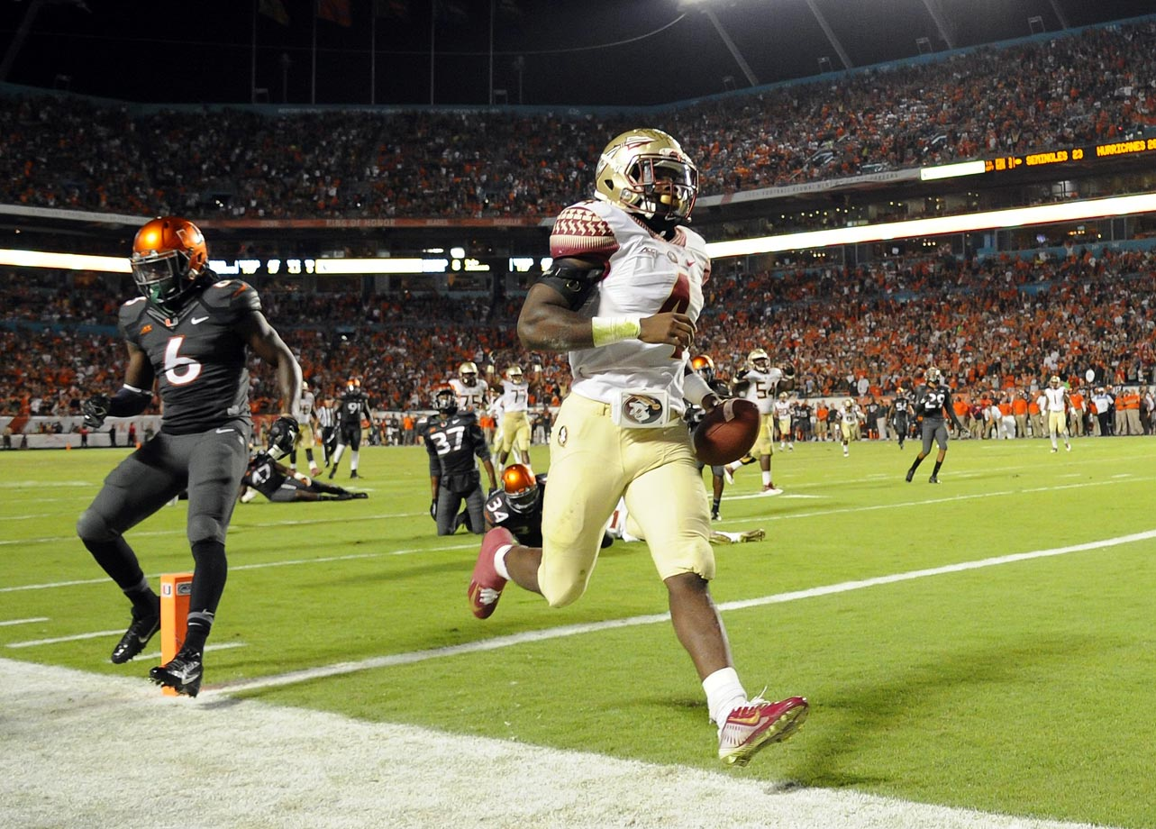 Needing a late touchdown to pull the upset, the Hurricanes drove to the Florida State 43, but Jalen Ramsey intercepted Brad Kaaya's deep heave to lock up another win. The Seminoles overcame a 16-0 deficit thanks to Cook, who jumpstarted the offense with a 44-yard touchdown run and finished with 92 yards on seven carries with two scores.