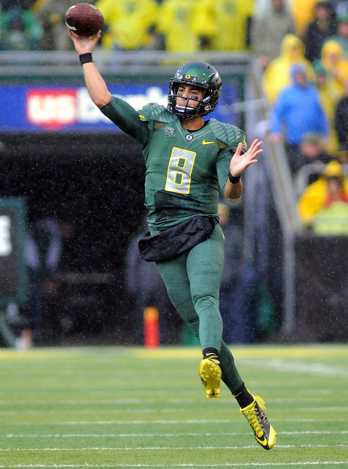 The Ducks had no trouble with the Buffaloes, taking a 27-point lead into halftime and outgaining Colorado 597-226 for the game. Mariota scored four total touchdowns.