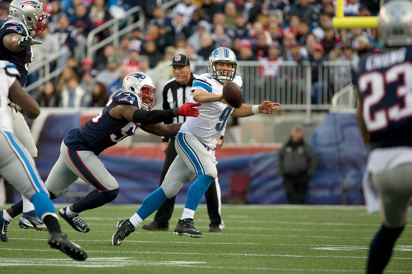 The Patriots' defense shined in their next win, a 34-9 shutdown of Detroit. Lions QB Matthew Stafford completed only 18 of his 46 passes and couldn't find the end zone. LaGarrette Blount ran for 78 yards and two scores after being picked up by New England three days earlier.