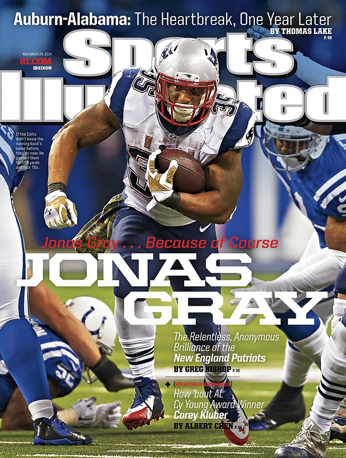 The Friday after a 201-yard, four-touchdown performance on 37 carries, New England Patriots running back Jonas Gray was late for practice, sent home, and told he will not start. The next game, he did not have a single carry, with head coach Bill Belichick focusing on newly-signed LeGarrette Blount. Gray received just 24 carries over the team's final seven games, including the postseason.