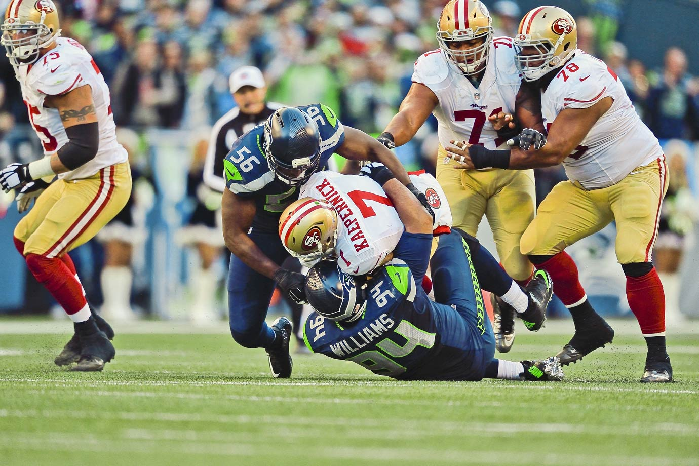 Playing San Francisco for the second time in three weeks, the Seahawks kept their thumb down on their division rival in a 17-7 win. The defense sacked Kaepernick six times, as he played another poor game.