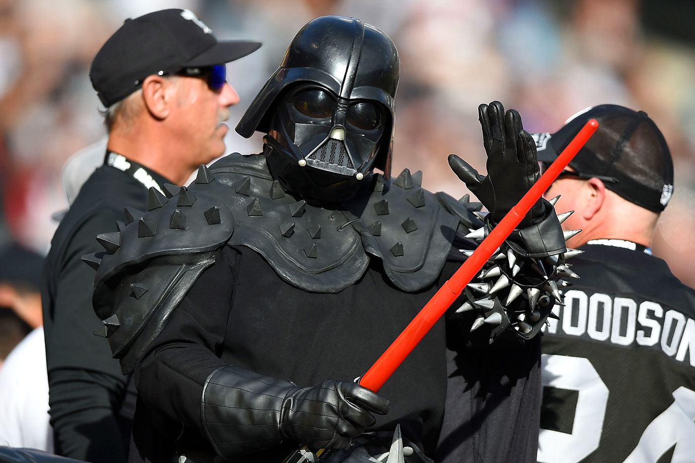 An Oakland Raiders fan dressed as Darth Vader supports his team during their game against the Buffalo Bills on Dec. 21, 2014 at O.co Coliseum in Oakland, Calif.