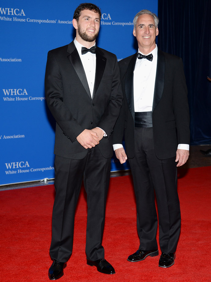 Andrew Luck and his father Oliver Luck attend the White House Correspondents' Association Dinner on May 3, 2014 at the Washington Hilton Hotel in Washington, D.C.