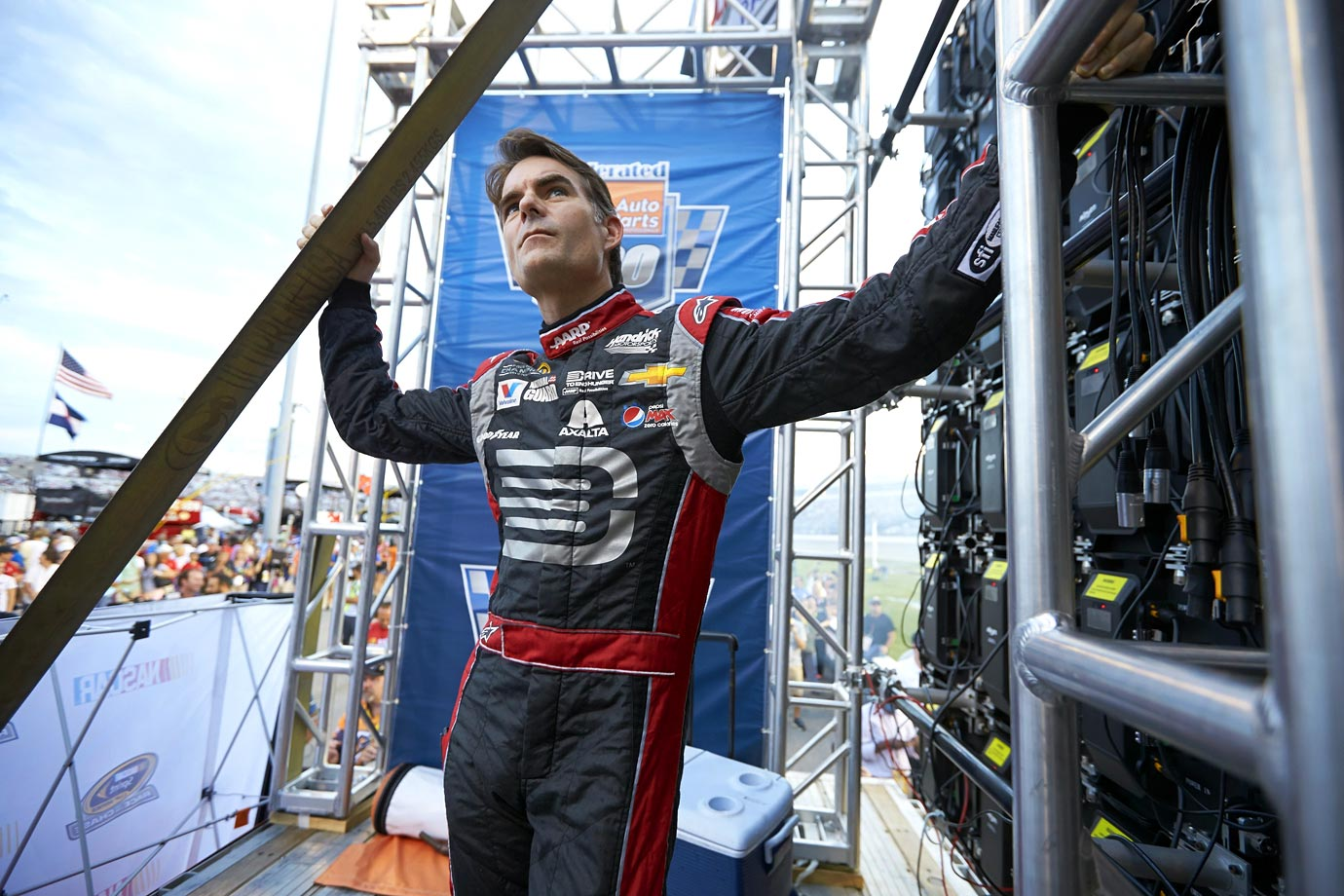 Jeff Gordon looks on before a race at Richmond International Raceway.