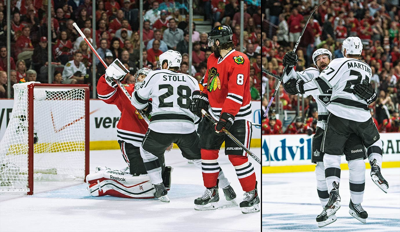 The rematch of the 2013 West finals featured four one-goal games. Up 3-1 in the series, the Kings rallied to send Game 5 into double OT. On the brink, the Cup champion Blackhawks were rescued by Michal Handzus at 2:04. In Game 6, the Kings led 3-2, but Patrick Kane, who scored twice, set up the knotter and then netted the winner with 3:45 left in the third period as Chicago prevailed 4-3. Game 7 was a riveting classic in which the Kings came back twice to set up a breathlessly intense OT full of non-stop action that was ended by L.A. defenseman Alec Martinez's deflected wrist shot from the blue line at the 5:47 mark.