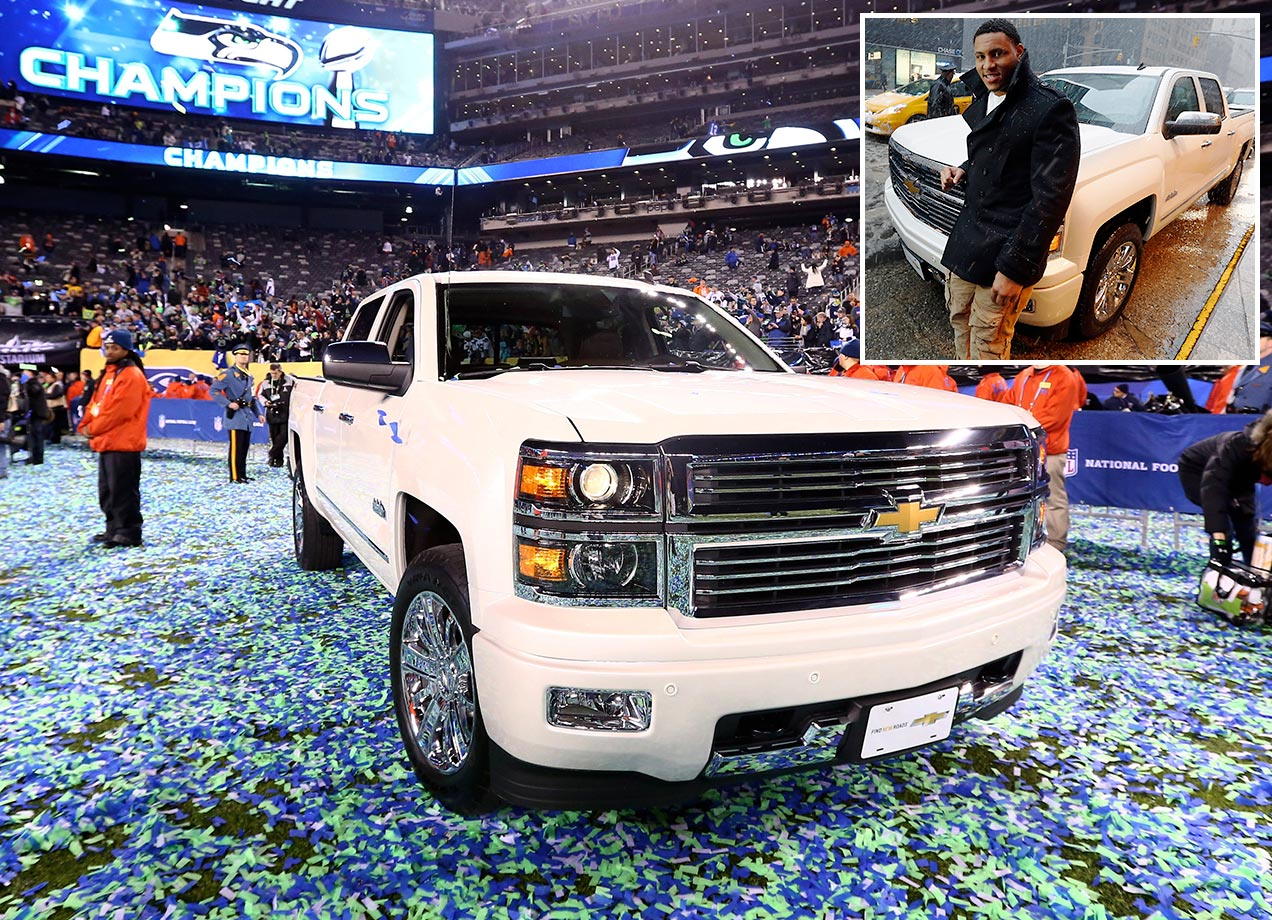 Malcolm Smith won this Chevrolet High Country Truck at Super Bowl XLVIII.
