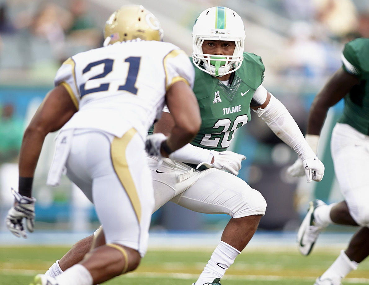 Tulane linebacker Nico Marley in action against Georgia Tech at Yulman Stadium in New Orleans on Sept. 6, 2014.