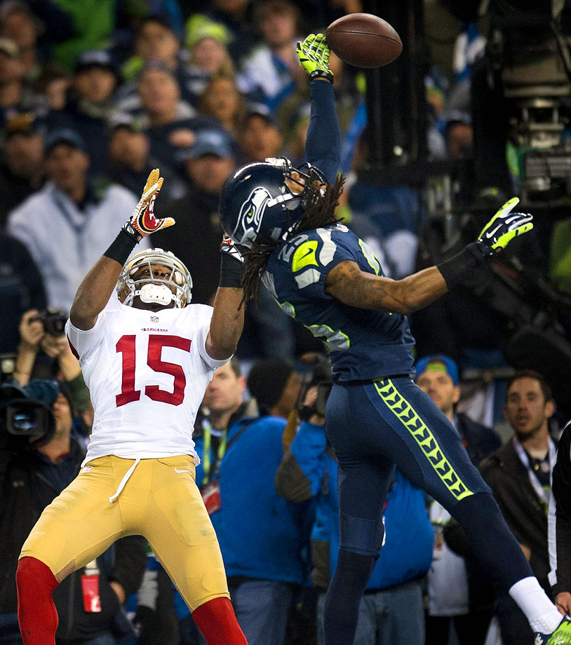 Richard Sherman did a CenturyLink Leap in the end zone, tipping Colin Kaepernick's pass intended for Michael Crabtree to Malcolm Smith for an interception with 22 seconds remaining. Even more memorable was Sherman trashing Crabtree in a postgame interview with Erin Andrews.