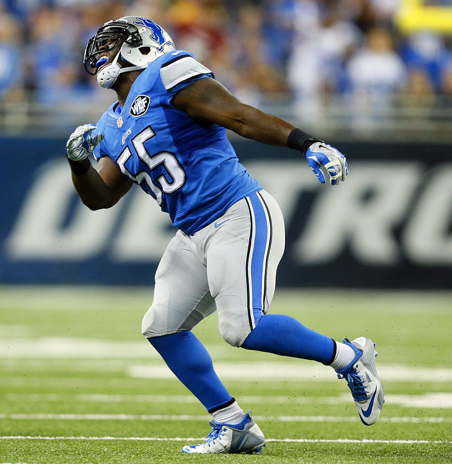 The Lions' linebacker tore his ACL while celebrating a sack in the team's victory over the Green Bay Packers on Sept. 21, 2014.