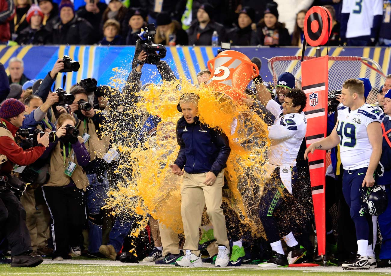 Image result for super bowl gatorade bath