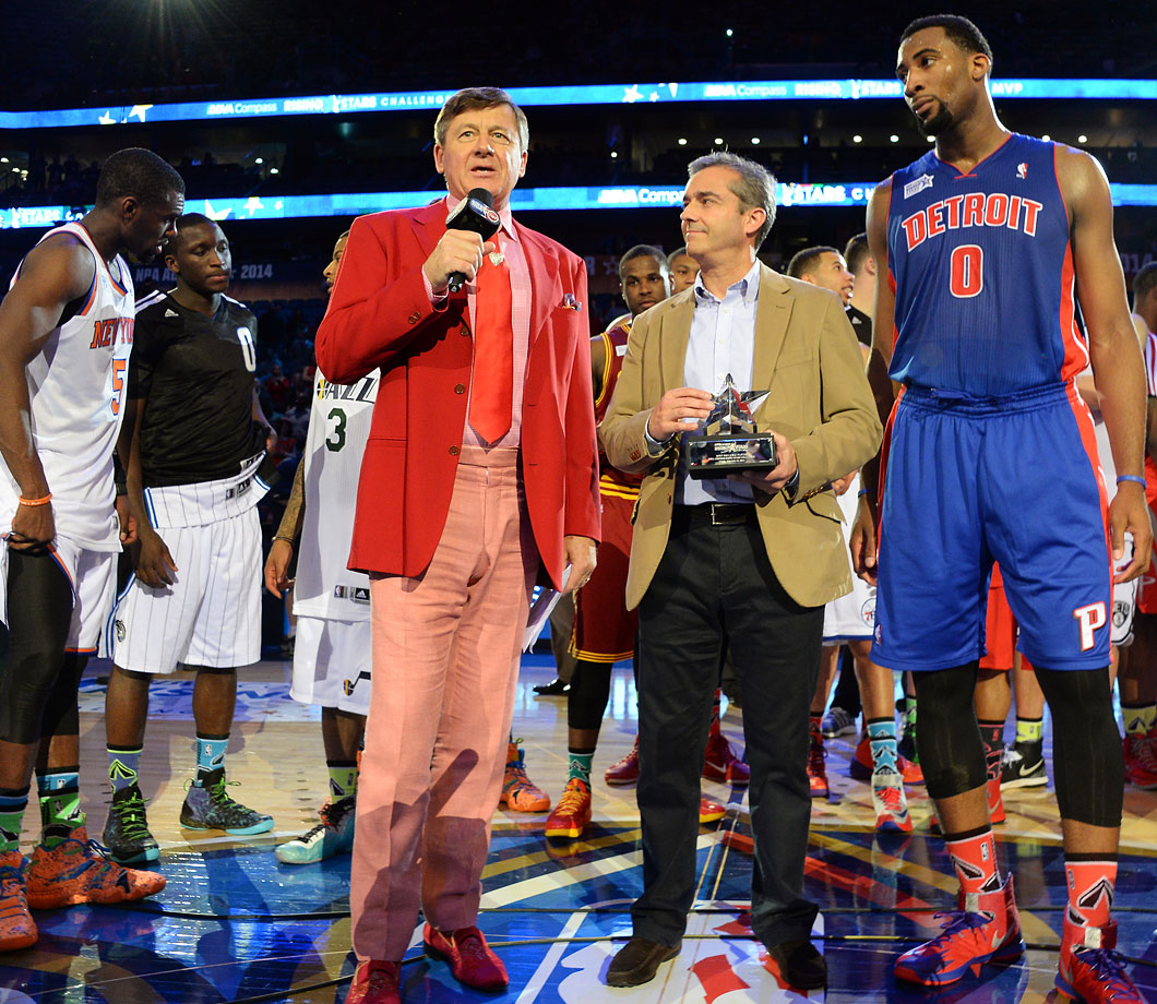Craig Sager interviews BBVA President and COO Ángel Cano and Andre Drummond, awarded the MVP award for the Rising Stars Challenge part of NBA All-Star Weekend on Feb. 14, 2014 at the Smoothie King Center in New Orleans.