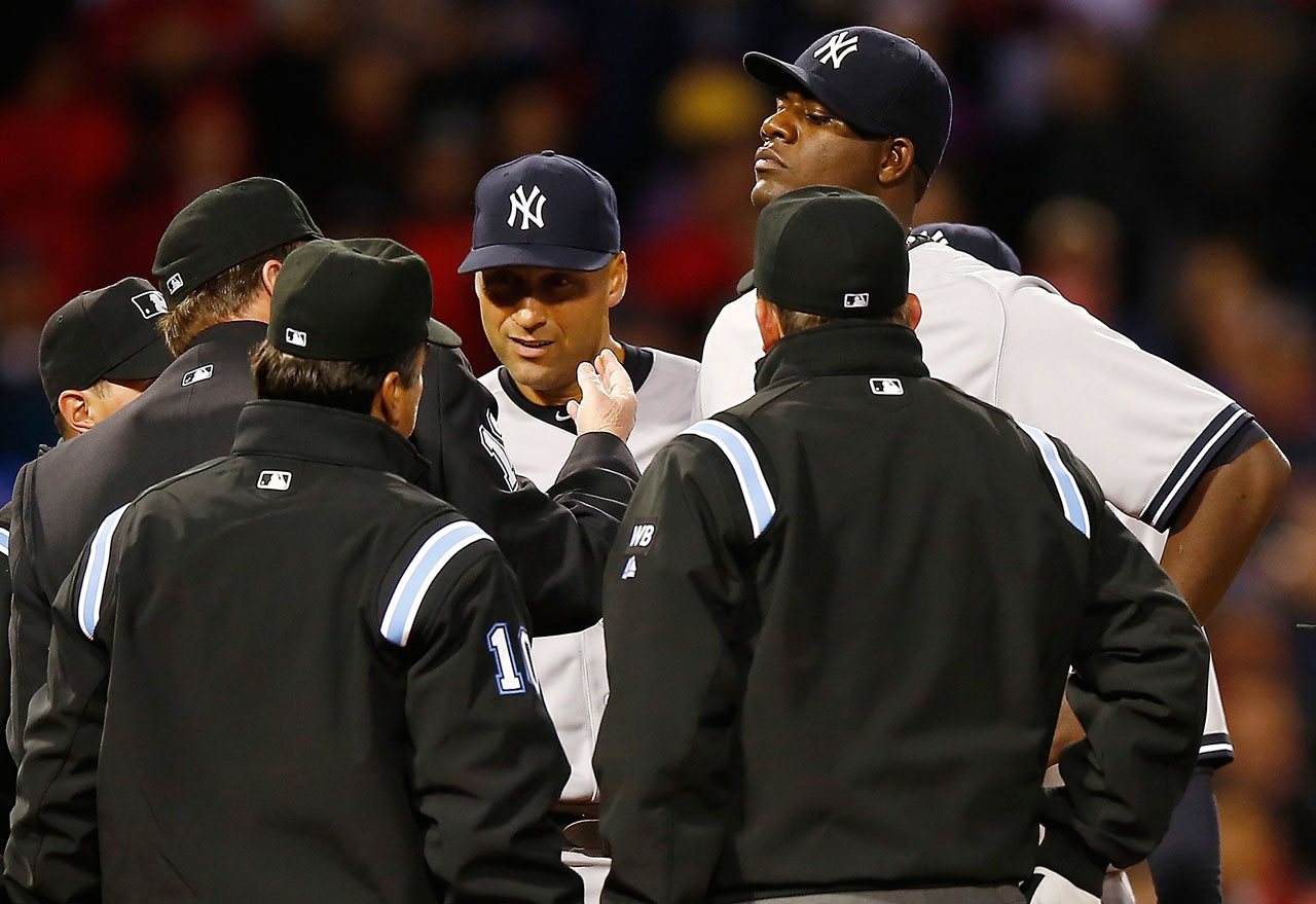 Pineda appeared to have pine tar on his palm during an April 10 start against the Red Sox, but the team didn't complain because the substance disappeared the inning after it was brought to Red Sox manager John Farrell's attention. During the second inning of a game two weeks later, Farrell again spotted something on Pineda's neck and approached home-plate umpire and crew chief Gerry Davis. Davis checked Pineda's body and uniform before going to his neck and wiping away the pine tar. Pineda was immediately ejected from the game and later suspended 10 games.