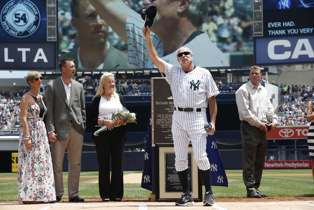 The Hall of Fame reliever with the blazing fastball and bushy mustache was honored by the team on Old-Timers' Day with a plaque to be put in Monument Park. ''This is the greatest day I've ever had,'' he told the sellout crowd of 47,493 at Yankee Stadium.