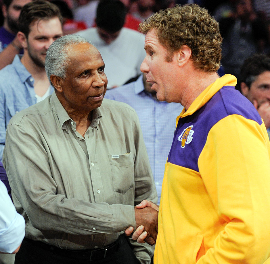 Will Ferrell meets Frank Robinson during the Los Angeles Lakers game against the Los Angeles Clippers on March 6, 2014 at Staples Center in Los Angeles.