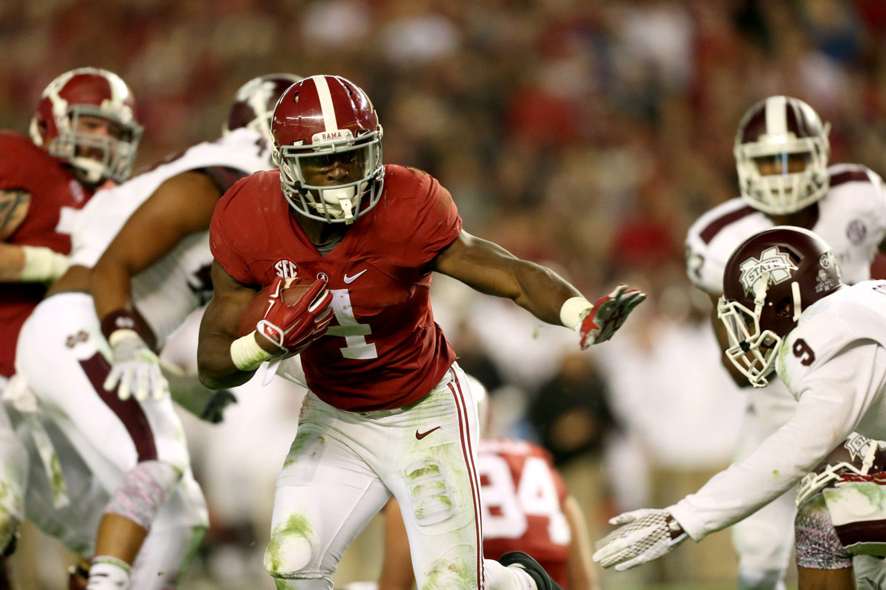 T.J. Yeldon runs in the second half against Mississippi State.