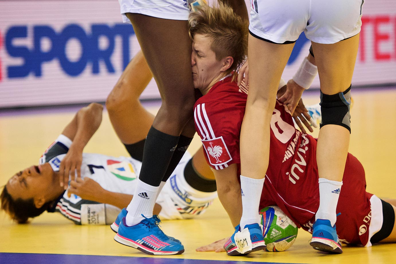 Hungary's Zsuzsanna Tomori is fouled in the 5th place match against France.
