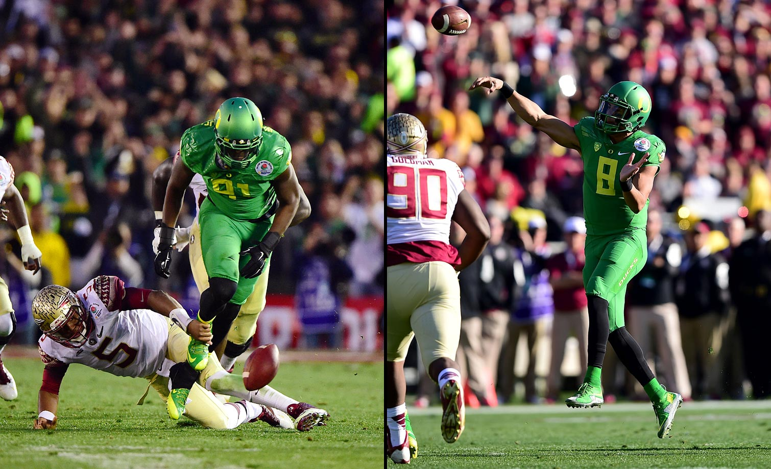 After leading by just five at halftime, the Ducks forced four turnovers in the third quarter and ended the Rose Bowl on a 34-0 run to rout the Seminoles and reach the national championship. Mariota contributed 400 yards of offense and three touchdowns.