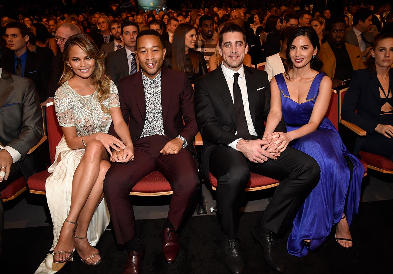 Chrissy Teigen, John Legend, Aaron Rodgers and Olivia Munn attend the 4th Annual NFL Honors at Phoenix Convention Center on Jan. 31, 2015 in Phoenix.