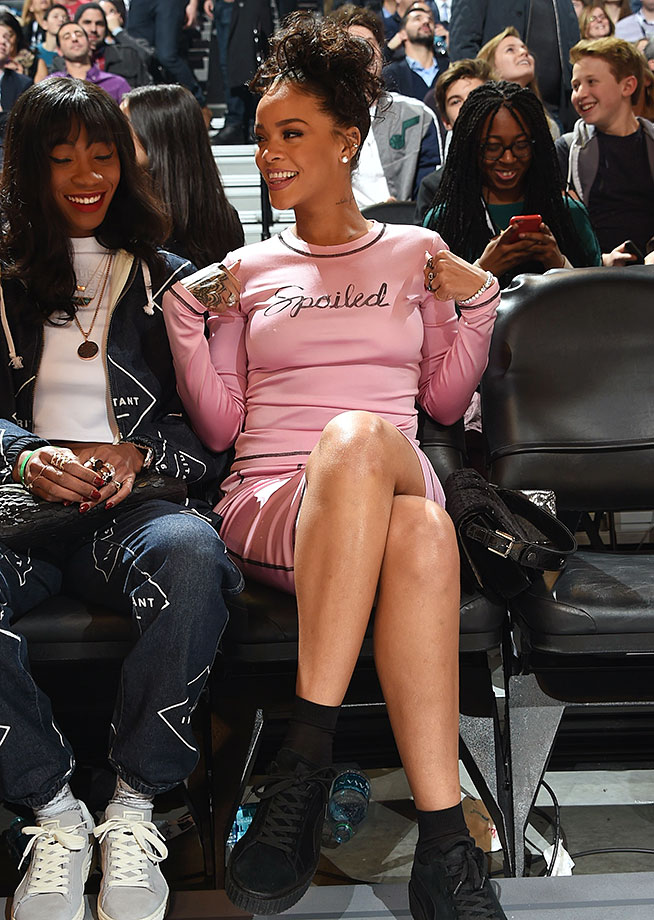 Rihanna attends the Three-Point Contest during NBA All-Star Weekend on Feb. 14, 2015 at the Barclays Center in the Brooklyn borough of New York City.