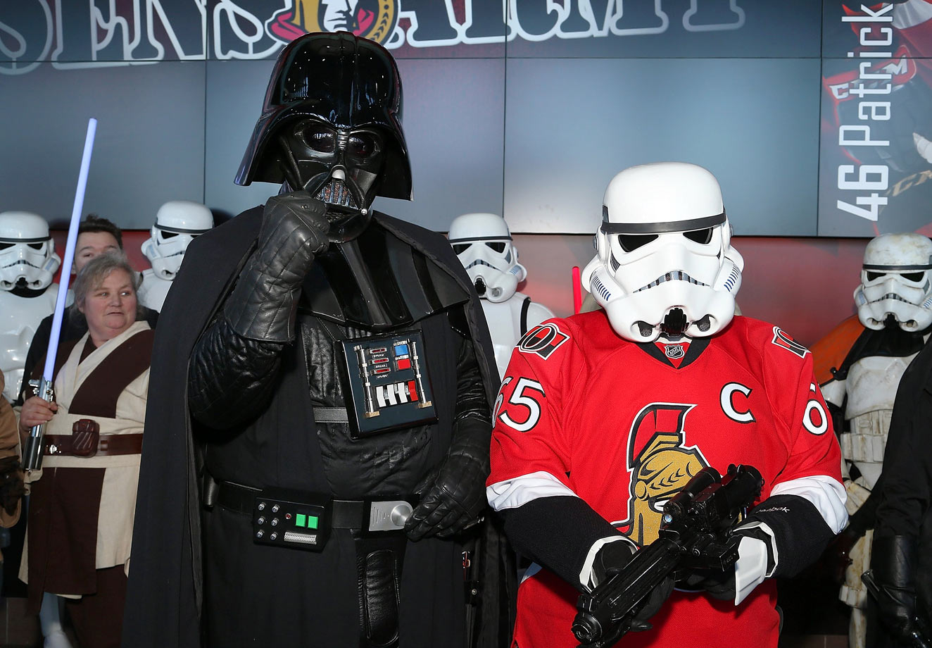 "Darth Vader and a stormtrooper pose for a photo during ""Star Wars Night"" prior to the Ottawa Senators game against the Florida Panthers on March 29, 2015 at Canadian Tire Centre in Ottawa, Canada."