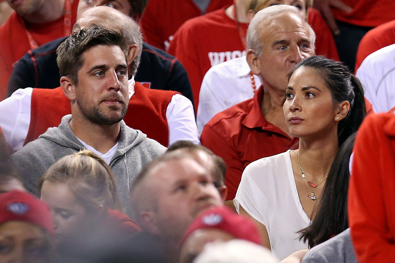 Aaron Rodgers and Olivia Munn attend the NCAA Men's National Championship Final Four game between the Wisconsin Badgers and the Duke Blue Devils at Lucas Oil Stadium on April 6, 2015 in Indianapolis.
