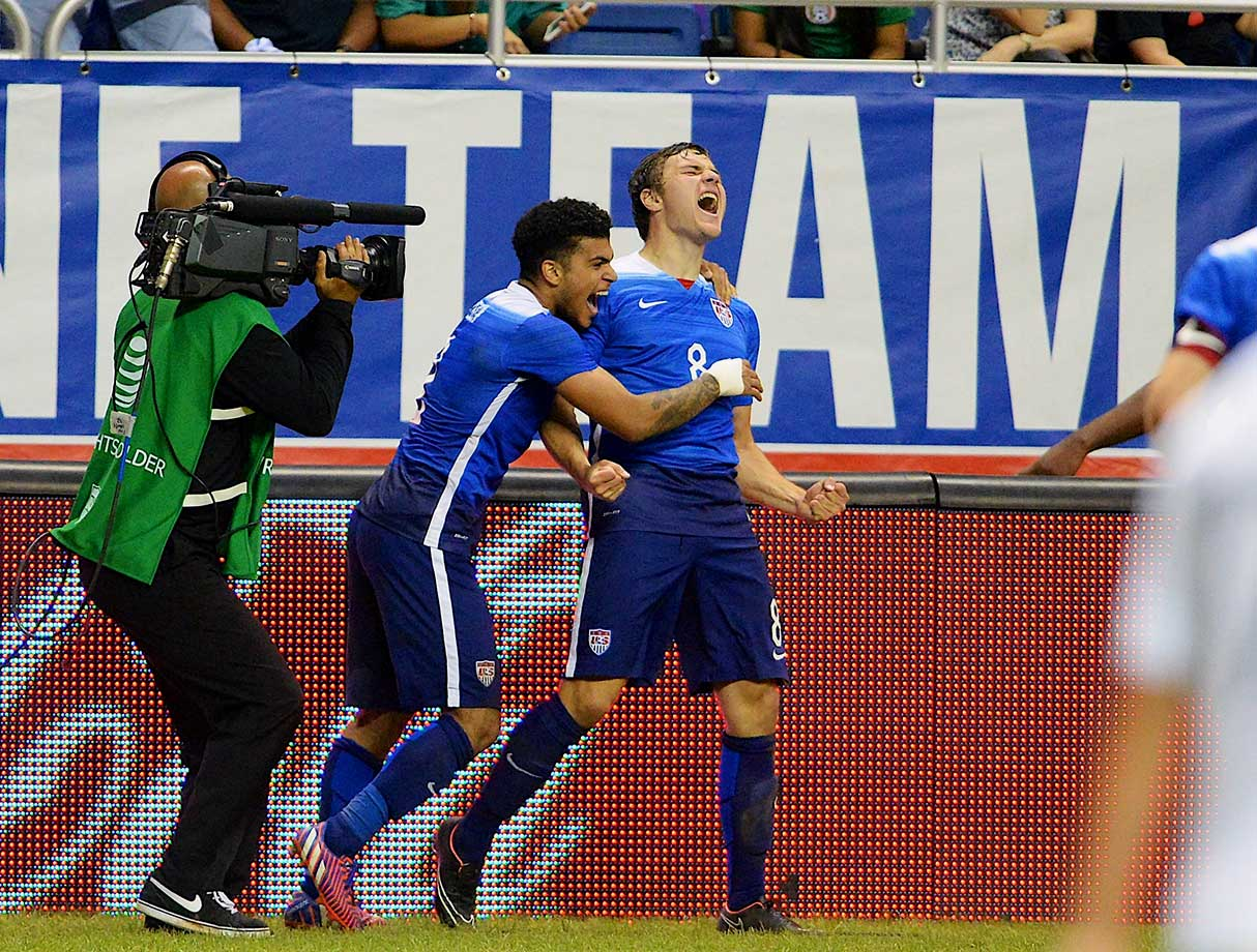 Stanford University's Jordan Morris marked his first senior national team start with his first international goal, sparking the USA in another 2-0 triumph over Mexico, this one at the Alamodome in San Antonio.