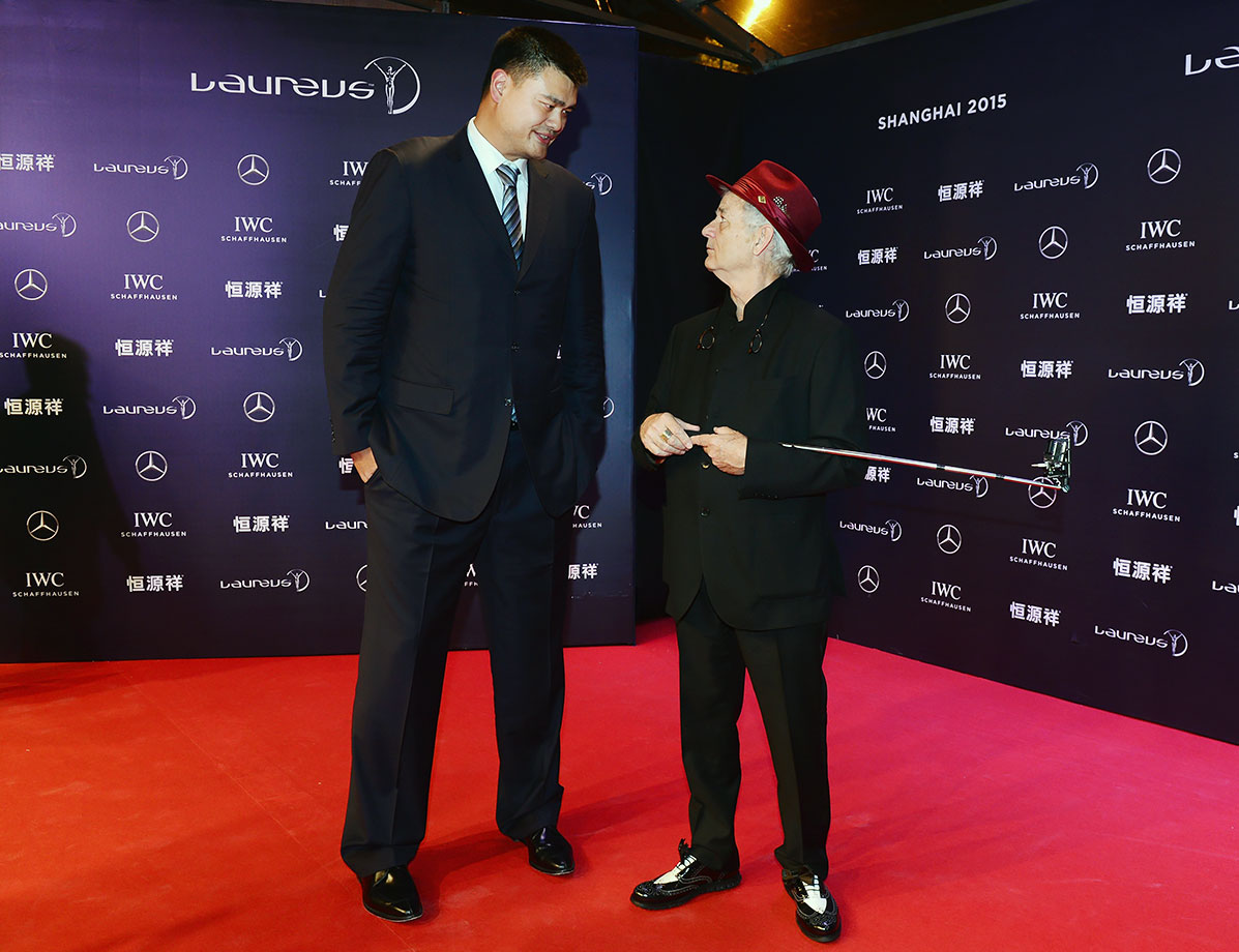 Yao Ming and Bill Murray attend the 2015 Laureus World Sports Awards on April 15, 2015 at the Shanghai Grand Theatre in Shanghai, China.