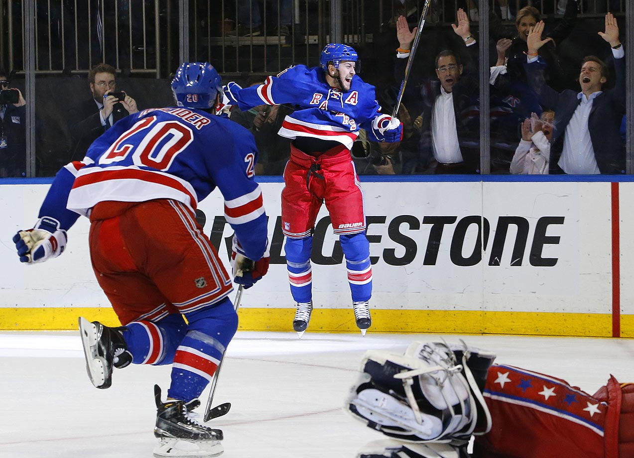Derek Stepan scored 11:24 in overtime, lifting the New York Rangers past the Washington Capitals 2-1 and into the Eastern Conference finals. Stepan's wrist shot from the left wing after he won a faceoff — a rarity for the Rangers — capped a comeback from a 3-1 deficit in the series. The Rangers are the only team to manage that in successive years, doing the same thing to Pittsburgh in the second round in 2014. The Rangers extended an NHL record with their 14th straight one-goal game, dating to 2014's Stanley Cup Final loss to Los Angeles.