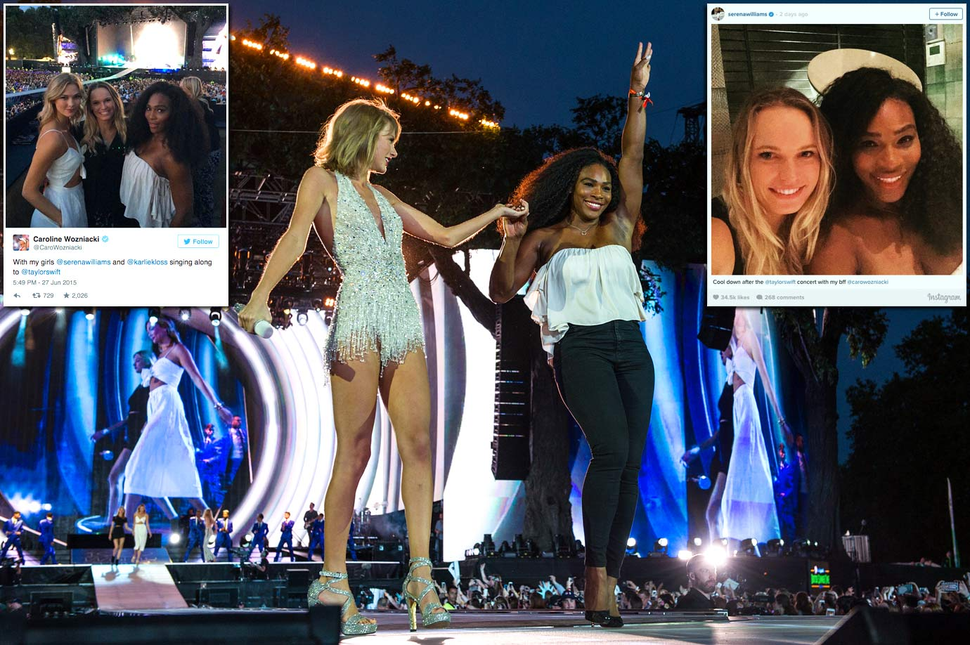 Serena Williams joins Taylor Swift onstage during The 1989 World Tour at Hyde Park on June 27, 2015 in London. Serena attended the concert with Caroline Wozniacki, and the two posted photos via Twitter and Instagram.