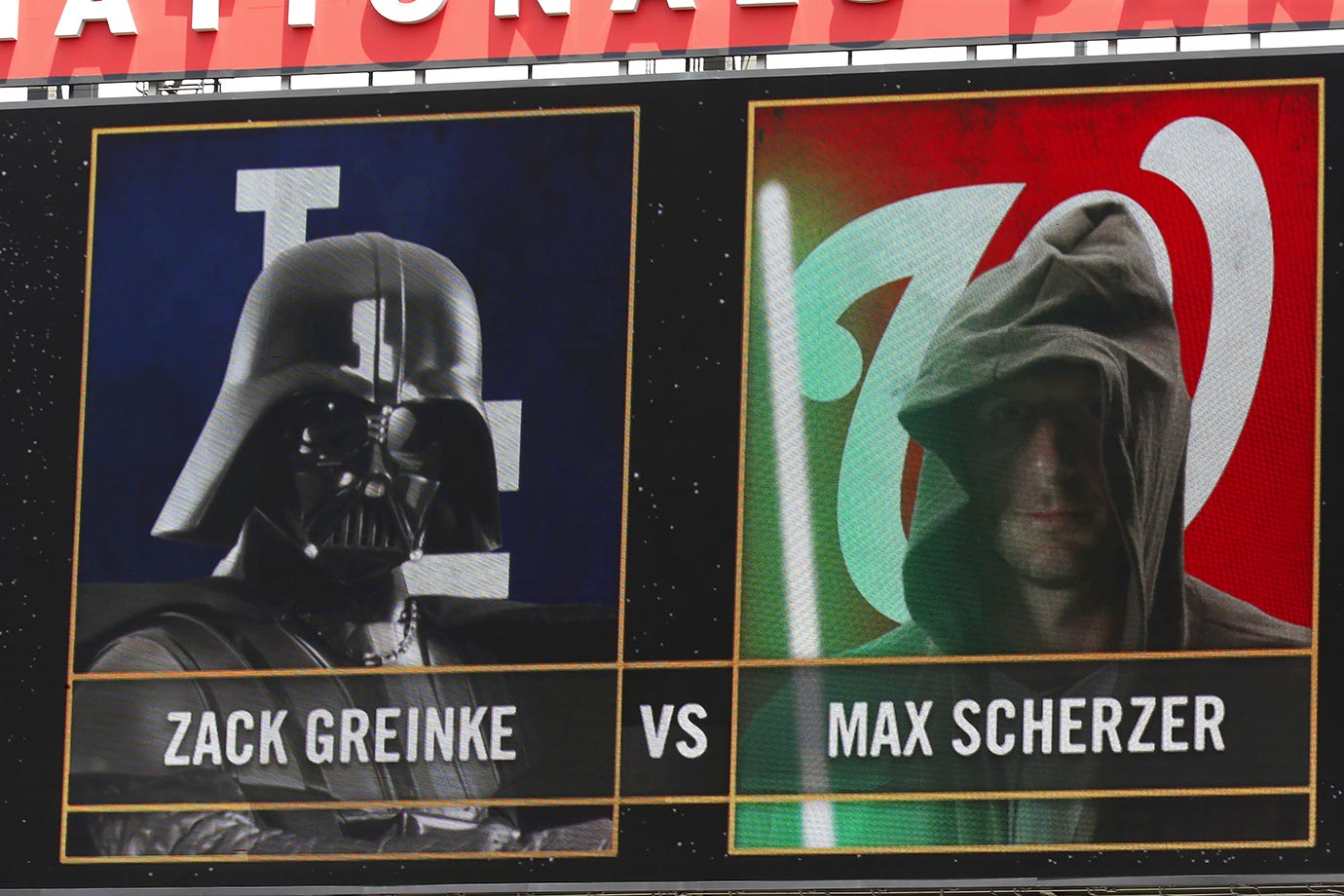 "The Washington Nationals scoreboard dispays the pitching matchup between Los Angeles Dodgers starting pitcher Zack Greinke and Nats starting pitcher Max Scherzer on ""Star Wars Day"" on July 19, 2015 at Nationals Park in Washington, D.C."