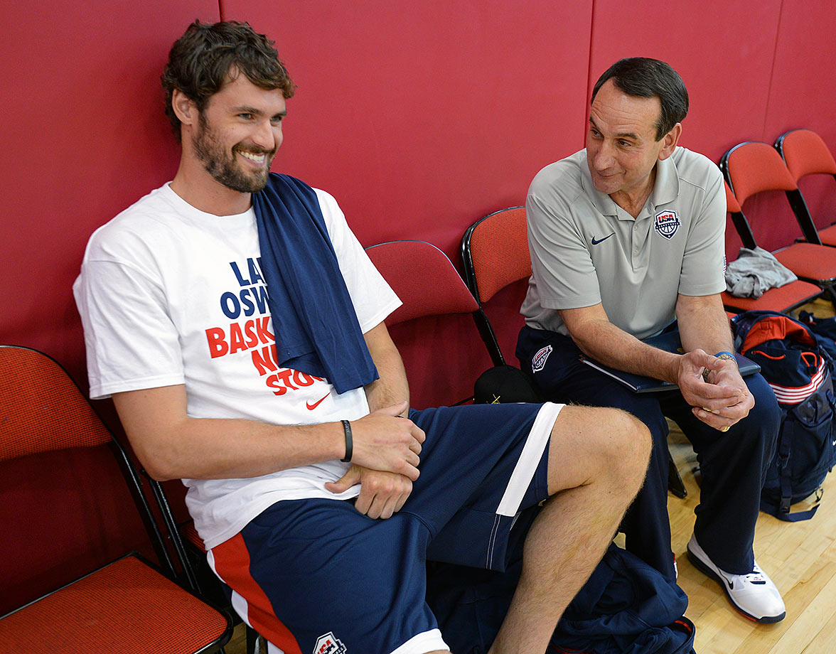 Kevin Love and Mike Krzyzewski of the USA National Team share a laugh during a minicamp at UNLV in Las Vegas.