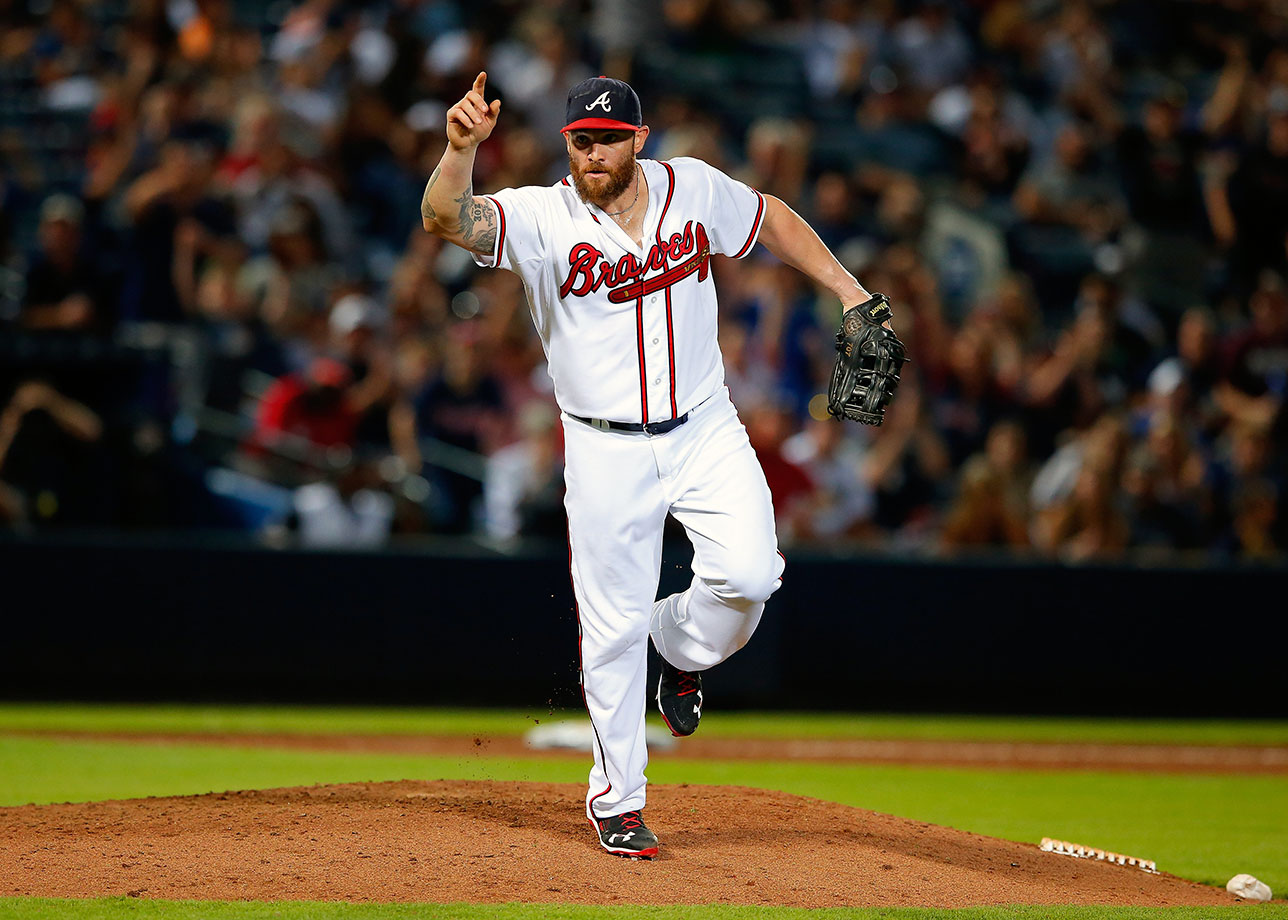 With his team down 13-3 to the Yankees, Braves outfielder Jonny Gomes, making his first career appearance as a pitcher, gave up two runs in the ninth, including a homer to Chris Young leading off the inning. Gomes raised his arm in celebration and raced to the dugout after striking out pitcher Bryan Mitchell to end the inning. Atlanta lost 15-4.