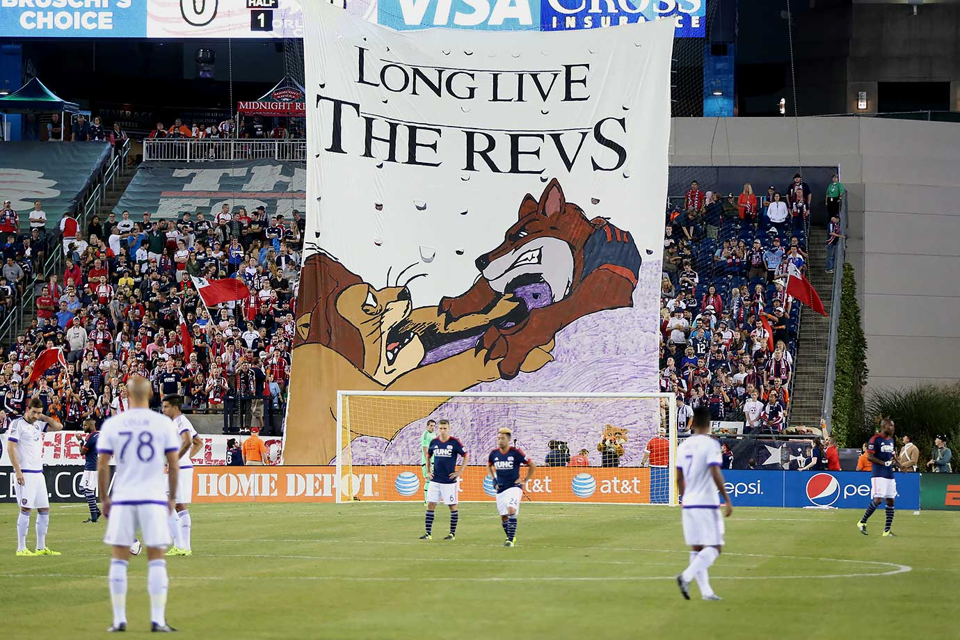 New England Revolution fans display a Lion King theme in honor of Orlando City FC's first visit to Gillette Stadium on September 5, 2015.