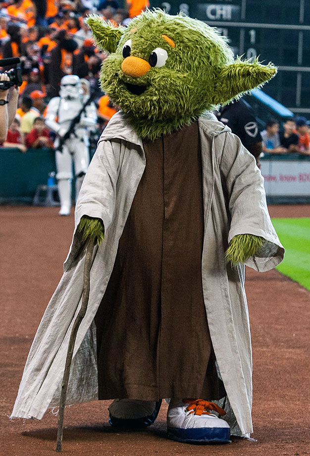 "Houston Astros mascot Orbit dresses as Yoda during ""Star Wars Day"" before the Houston Astros game against the Minnesota Twins on Sept. 6, 2015 at Minute Maid Park in Houston."