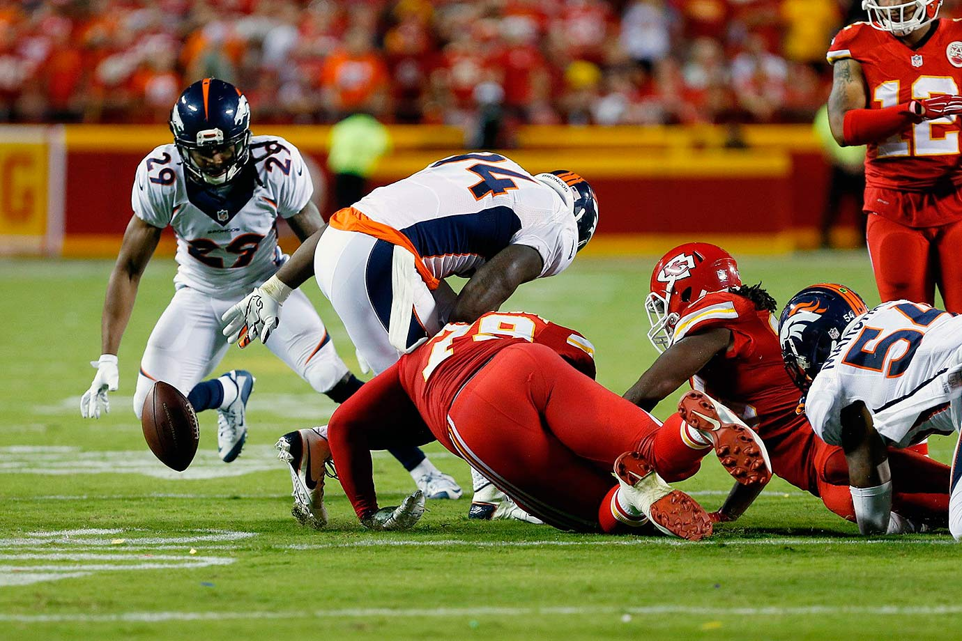 The fBroncos fell in a 14-0 first half deficit to the Kansas City Chiefs following another pick-six throw by Peyton Manning. But he rebounded to throw for 256 yards and three touchdowns. With the game tied and 27 seconds left, Chiefs running back Jamaal Charles was stripped and safety Bradley Roby returned the fumble for a touchdown. Denver won 31-24.