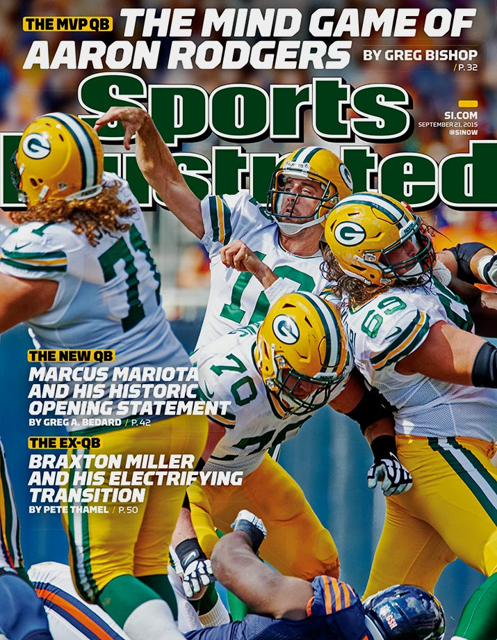 September 21, 2015 | As Green Bay Packers quarterback Aaron Rodgers prepares for a season without his top receiver, the reigning NFL MVP is featured on a regional cover. Rodgers completed 18 of 23 passes for 189 yards and three touchdowns in Sunday's season opening win over the Chicago Bears.