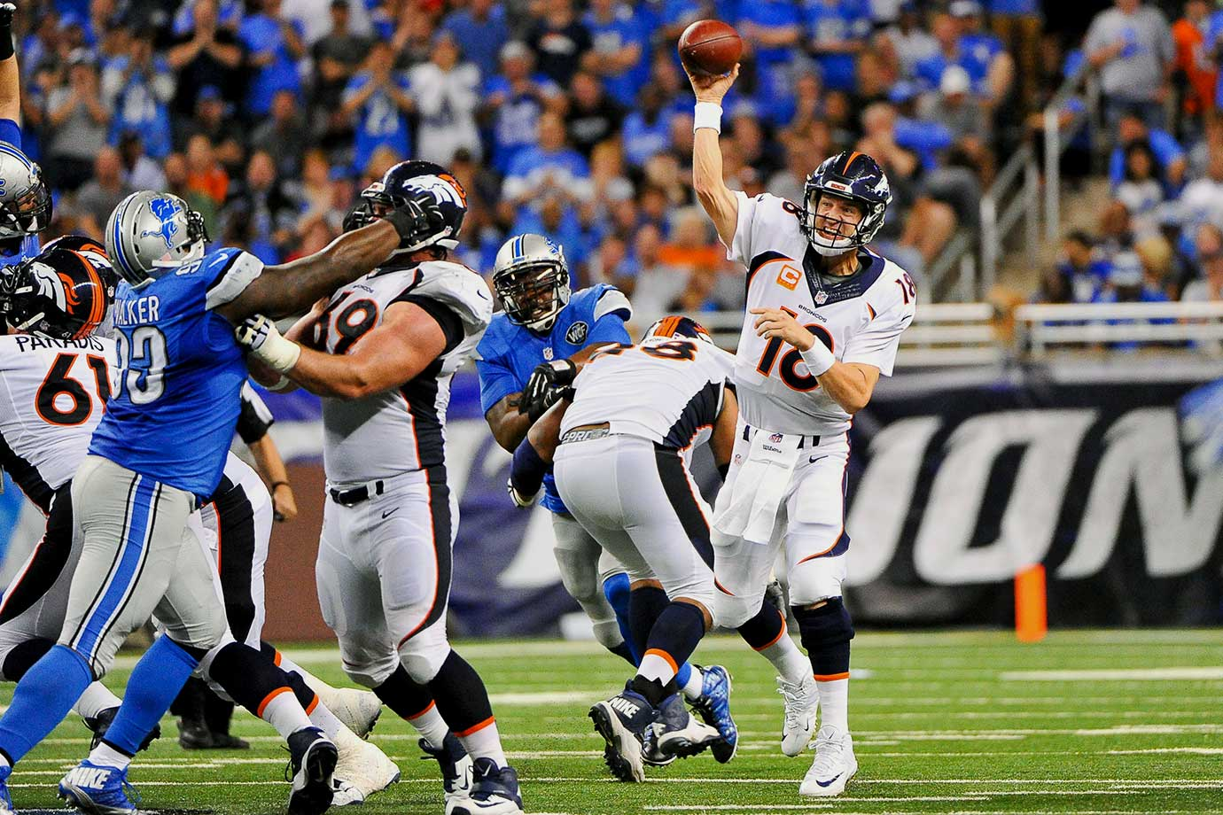 After two straight wins, the Broncos went to Detroit in what was one of Manning's best performances of the season. He went 31 for 42 with 324 yards, two touchdowns and an interception. The Broncos took the lead on a Ronnie Hillman touchdown in the second quarter and never relinquished it, despite Detroit staying close most of the game. Denver won 24-12.