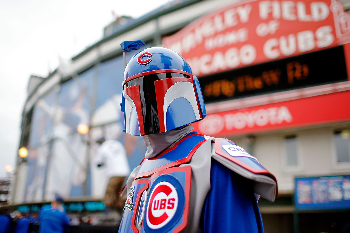 A Chicago Cubs fan dressed as Boba Fett stands in front of Wrigley Field before Game Four of the National League Divisional Series against the St. Louis Cardinals on Oct. 13, 2015 in Chicago.