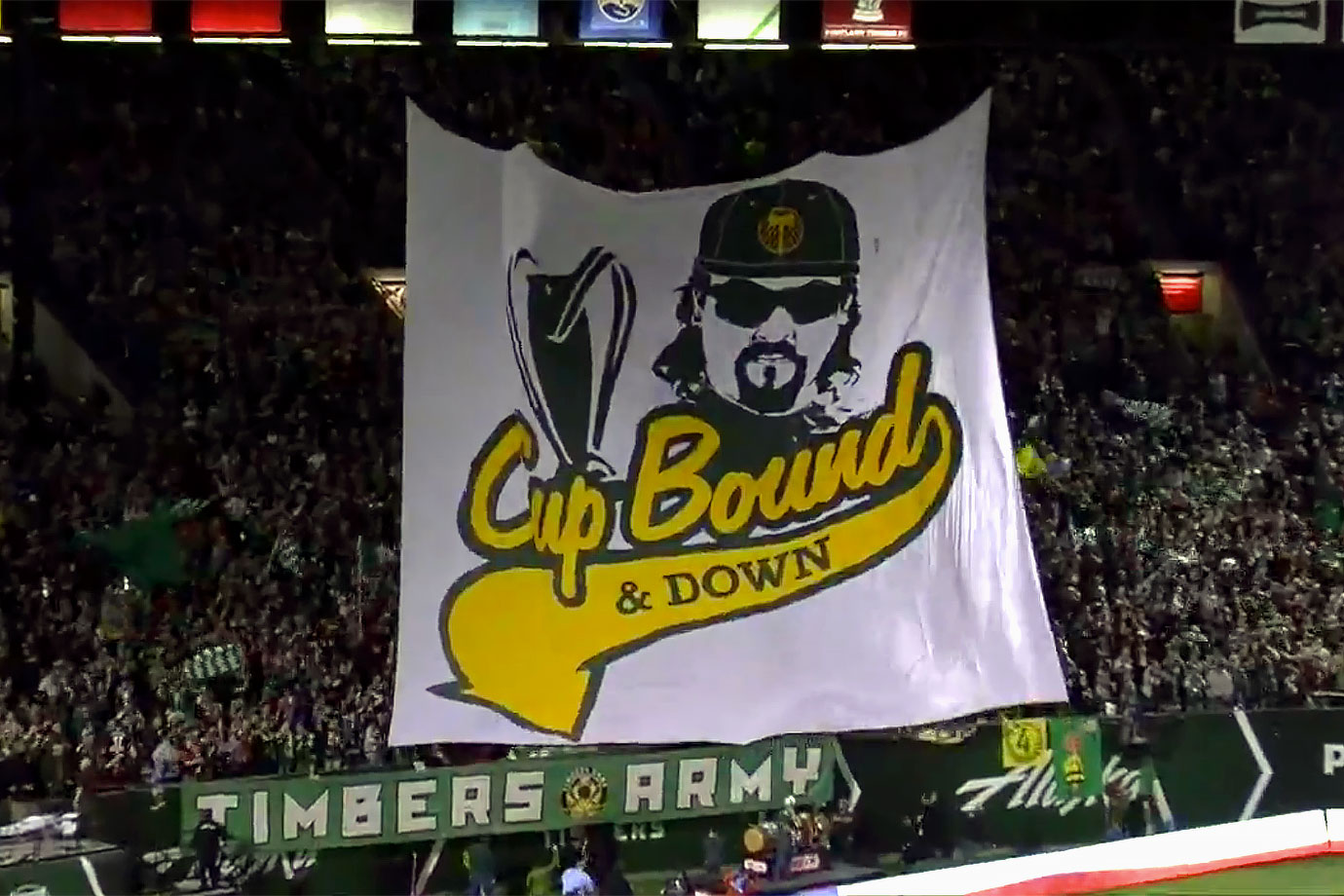 "The Timbers Army referenced Eastbound & Down's Kenny Powers with their ""Cup Bound and Down"" tifo for the Portland Timbers' MLS playoff elimination game against Sporting Kansas City on October 29, 2015."