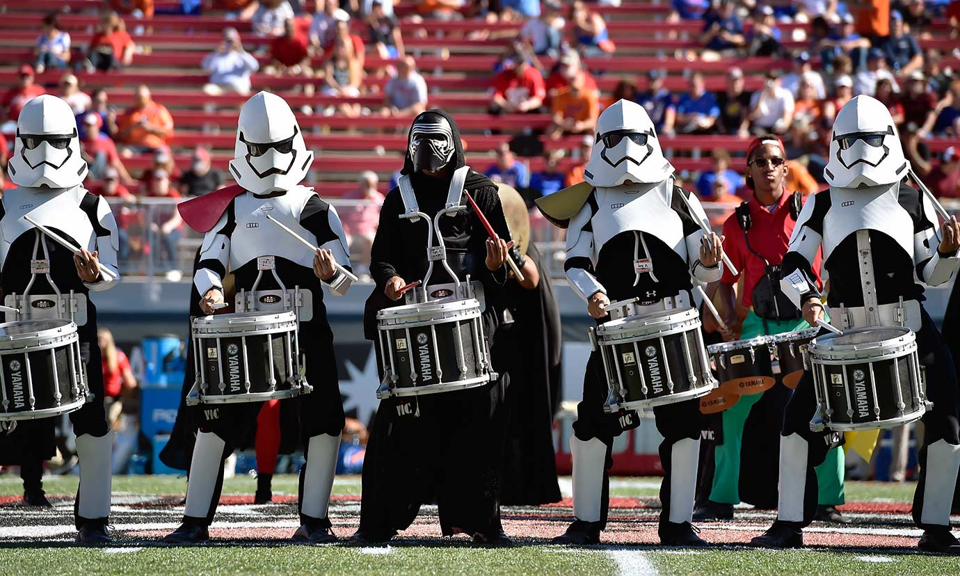 Members of the UNLV Rebels marching band perform dressed in Star Wars costumes before the team's game against the Boise State Broncos on Oct. 31, 2015 at Sam Boyd Stadium in Las Vegas.