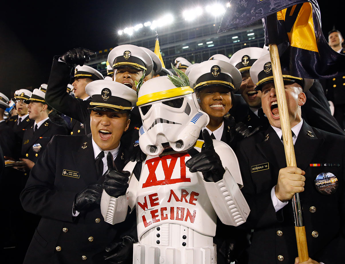 A U.S. Naval Academy midshipman is dressed like a stormtrooper during the football game between Navy and SMU on Nov. 14, 2015 in Annapolis, Md.