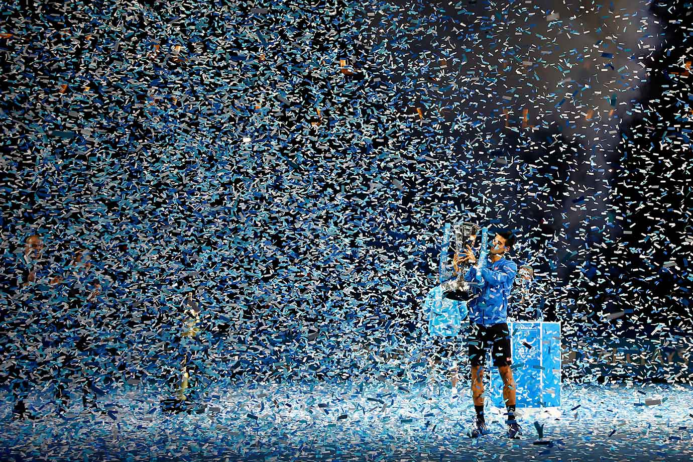 Still no word if Novak Djokovic made his way through this blizzard of confetti after winning the Barclays ATP World Tour Finals.