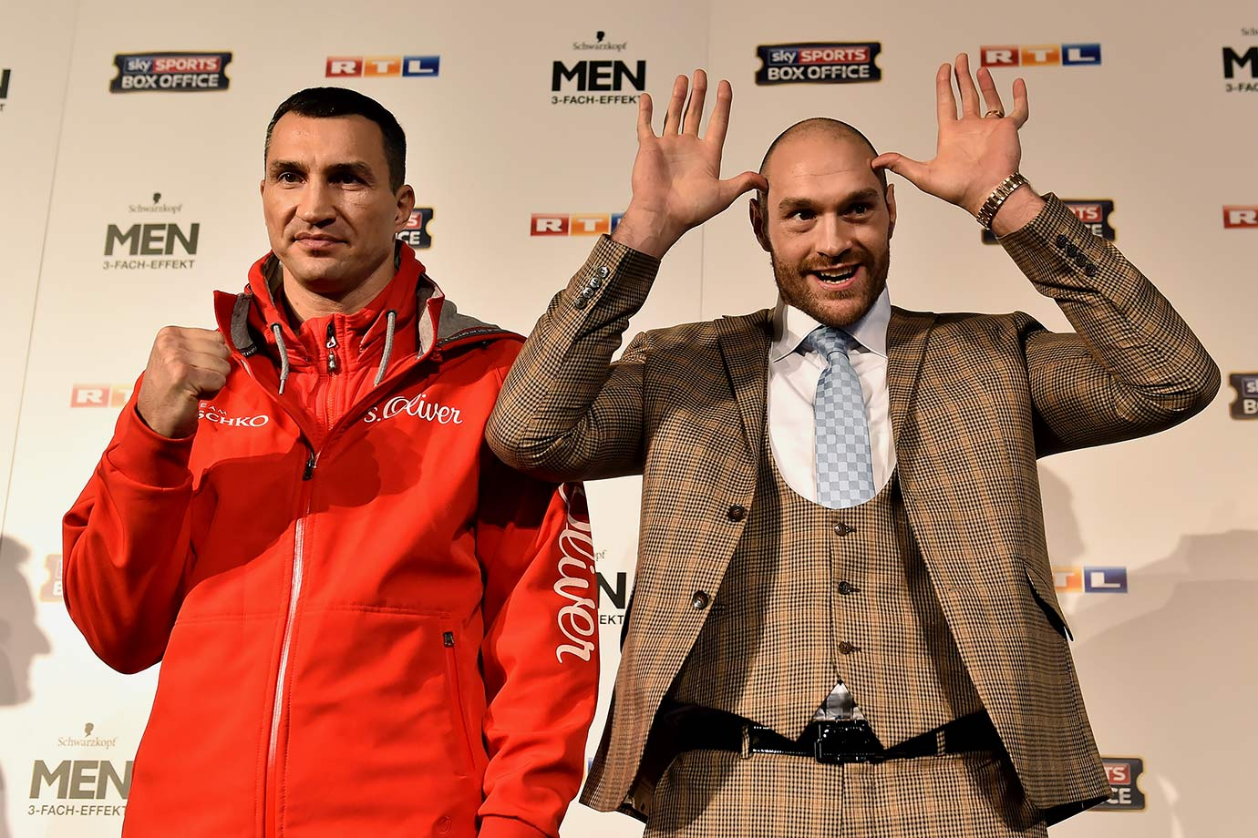 Intimidation is always key during any pre-fight press conference, as evident by Tyson Fury's menacing stare alongside Wladimir Klitschko.