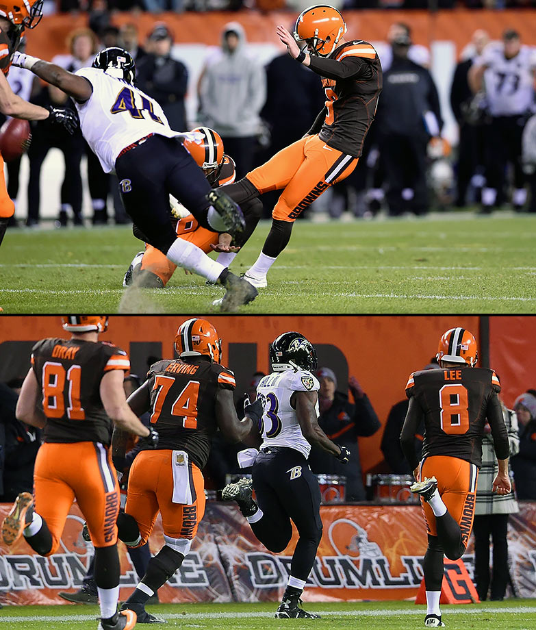 There's only so much you can expect from a Monday Night Football matchup between a 3-7 Ravens team and a 2-8 Browns team in the 2015 Art Modell Bowl. But there were plenty of scoring highlights in a close game that had a chance to go into overtime, including Will Hill's return of a blocked field goal as time expired, giving the Ravens an improbable last-second win. Cleveland snatched defeat out of the jaws of victory once again.