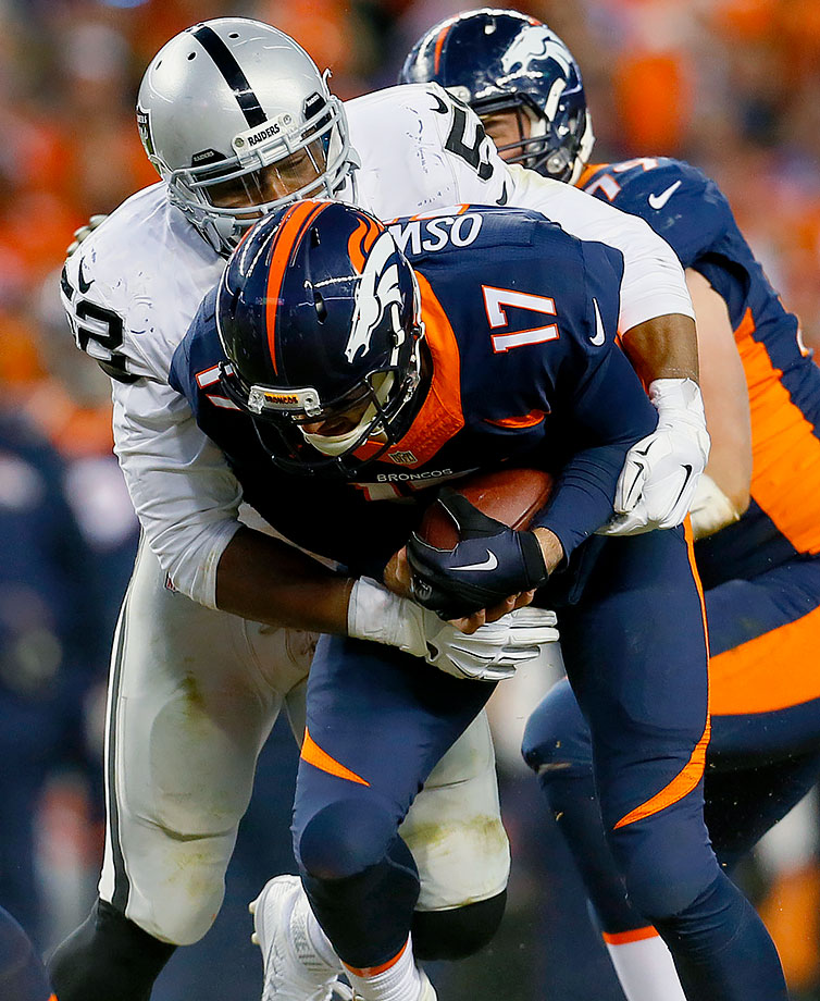 The second divisional matchup against the Oakland Raiders was tough for Denver's offense. It could only muster 12 points on four McManus field goals, opening the door for Derek Carr to bring his team back for a 15-12 victory. Raiders linebacker Khalil Mack had five second-half sacks, including one in the end zone for a safety. Osweiler had 308 yards passing on the day, but couldn't find the end zone.