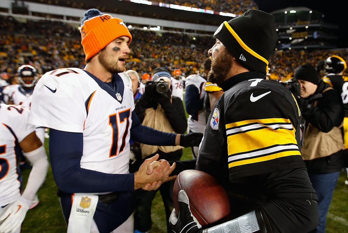 The game against the Steelers was one of Osweiler's best. He threw for 296 yards with three touchdowns and one interception, and he even added a rushing touchdown. He threw a 61-yard touchdown to Emmanuel Sanders, who had 181 yards receiving on the day. They were up 27-10 towards the end of the first half, but Pittsburgh quarterback Ben Roethlisberger threw three second-half touchdowns, handing the Broncos their fourth loss of the season.
